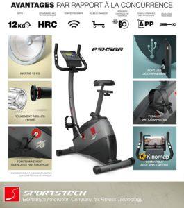 Sportstech Vélo d'Appartement ergomètre ESX500